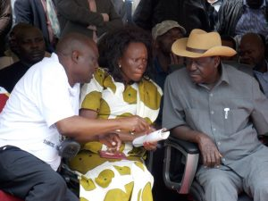 John Magaiwa, Migori county MP Dennitah Ghati and Cord leader Raila Odinga