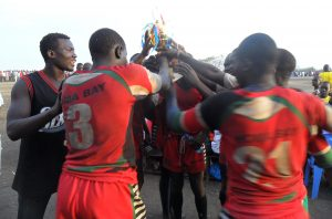 Homa Bay Boy Rugby Team after receiving the winning trophy in the Buop Tournament.
