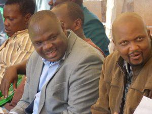 Kuria West MP Mathias Robi (L) and his Gatundu South counterpart Moses Kuria at Nyabikaye SDA.